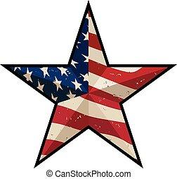 strepen, vaderlandslievend, sterretjes, antieke , vector, illustratie, amerikaan, vrijstaand, ster, schuur