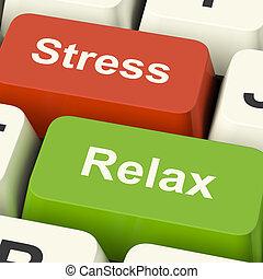stress, verslappen, sleutels, werken, druk, computer, online, of, ontspanning, optredens