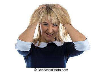 stress, vrouw, beeld, zakelijk