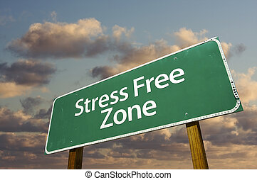 stress, wolken, zone, kosteloos, meldingsbord, groene, straat