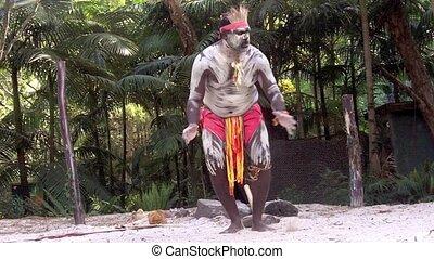 strijder, aboriginal, man, zingen