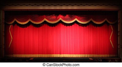 strip, theater, toneel, achtergrond, draperen, helder, gele, ouderwetse