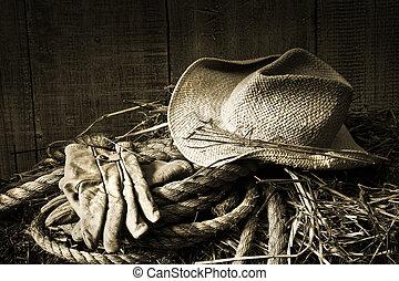 stro, de baal van het hooi, handschoenen, hoedje