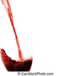 stroom, stroom, glas, vector, rode wijn