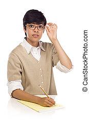 student, jonge, hardloop, volwassene, vrouwlijk, gemengd, tafel, mooi