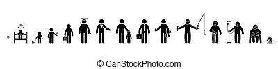 student, mensen, op, zakenman, man, stok, oud, pictogram, pictogram, menselijk, dood, vector, set., schooljongen, leven, figuur, proces, baby, opeenvolging, mannelijke , groeiende, ziek, geitje, gepensioneerd, kind, cyclus, veroudering