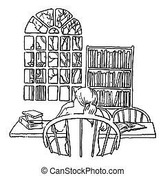 student, studerend , bibliotheek