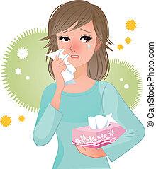 stuifmeel, lijden, vrouw, allergi