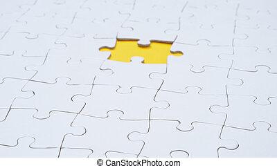 stuk, lege, raadsel, witte , missende , jigsaw