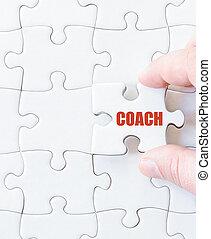 stuk, woord, trainer, raadsel, missende , jigsaw