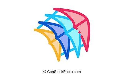 stukken, animatie, weinig, vlieger, pictogram