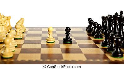 stukken, plank, schaakspel