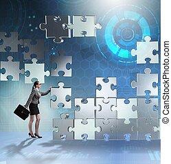 stukken, teamwork, handel concept, raadsel