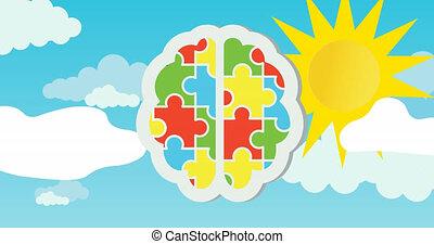 stukken, zon, animatie, hemelblauw, rood, groene, raadsel, menselijke hersenen, gele, vormen