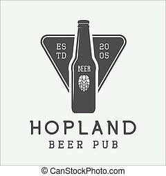 style., mark, logo, embleem, bier, etiket, badge, ouderwetse
