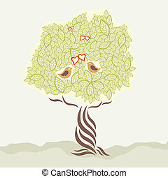 stylized, boompje, liefde, twee vogels