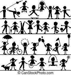 stylized, getrokken, hand, spelende kinderen