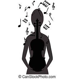 stylized, viool, opmerkingen, vrouw, muzikalisch