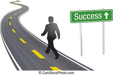 succes, bedrijfsteken, wandeling, straat, man