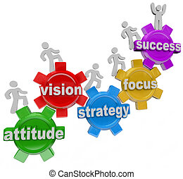 succes, mensen, rijzen, visie, strategie, toestellen, bereiken