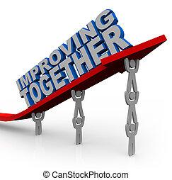 succes, samen, liften, groei, richtingwijzer, team, verbeteren