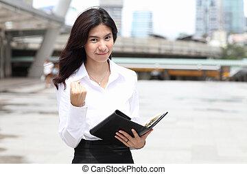succes, zakelijk, beeld, jonge vrouw , gesturing