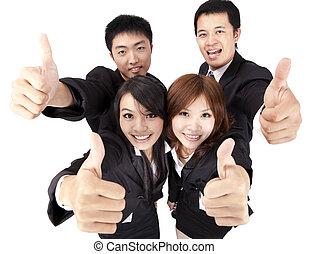 succes, zakelijk, op, jonge, aziaat, team, duim