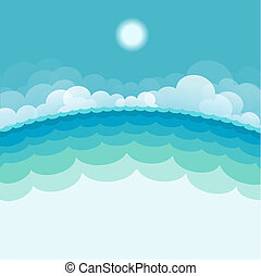 sun., blauwe achtergrond, zee, illustratie, vector, zeezicht, natuur