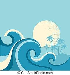 sun., blauwe , illustratie, zee, golven, vector, zeezicht, poster, natuur