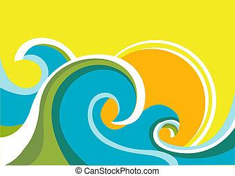 sun., kleuren achtergrond, zee, golven, vector, zeezicht, poster, natuur