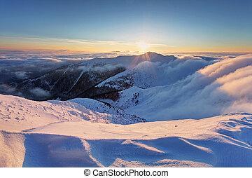 sun., ondergaande zon , op, wolken, winter