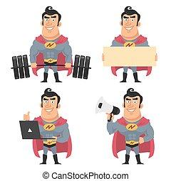 superhero, houden, gevarieerd, voorwerpen