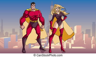 superhero, staand, stad, paar, groot