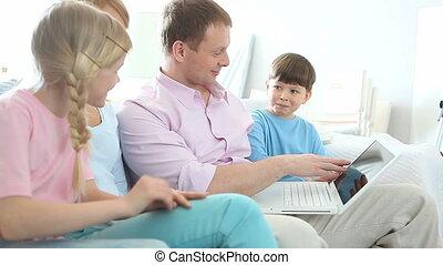 surfing, gezin, internet