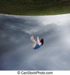 surrealistisch, het vallen, vrouw