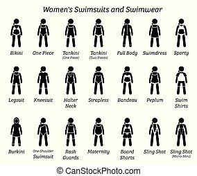 swimwear., vrouwen, badkleding