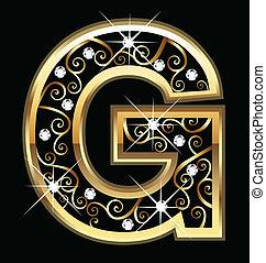swirly, g, brief, goud, versieringen