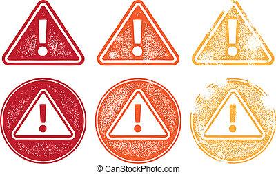 symbolen, alarm, grunge, pictogram