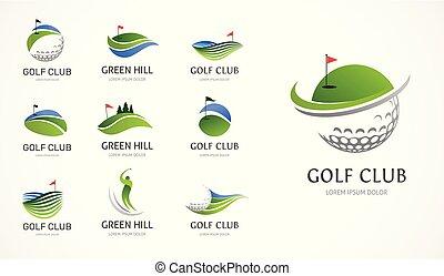 symbolen, communie, golfspel club, iconen, verzameling, logo
