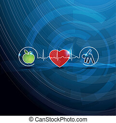 symbolen, concept, cardiologie, gezonde , helder, levend