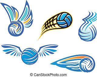 symbolen, emblems, volleybal