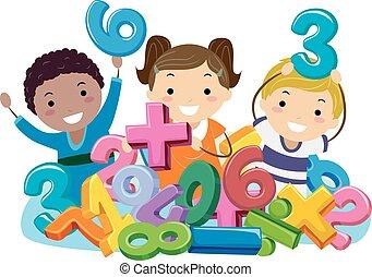 symbolen, geitjes, stickman, getallen, wiskunde