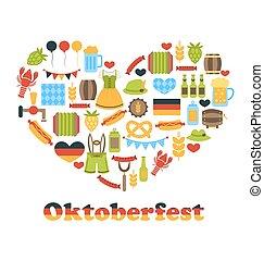 symbolen, hart, gemaakt, kleurrijke, oktoberfest