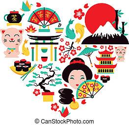 symbolen, japan, hart