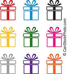 symbolen, kleurrijke, cadeau, vector, doosje