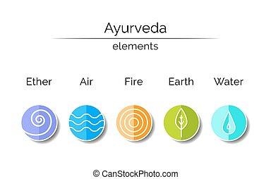 symbolen, lineair, ayurvedic, style.