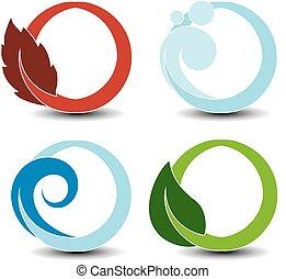 symbolen, -, lucht, golf, vuur, vector, aarde onderdelen, natuurlijke , vlam, natuur, water, circulaire, bel, water, blad
