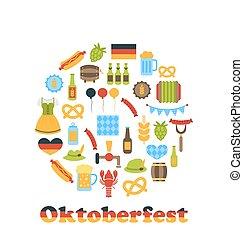symbolen, oktoberfest, frame, ronde, kleurrijke