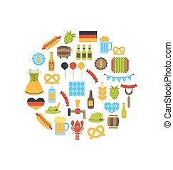 symbolen, oktoberfest, kleurrijke