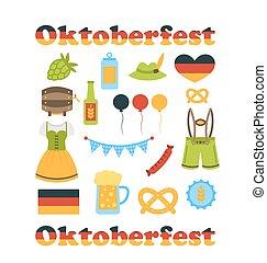 symbolen, oktoberfest, vrijstaand, kleurrijke